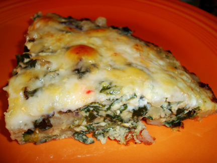 a frittata of Swiss chard, potatoes, and Fontina