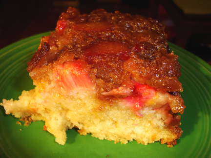 a piece of Rhubarb Upside Down Cake