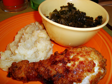 Southern Sunday Supper: Bacon-Fried Chicken, Kale, and Garlic & Shallot Potatoes